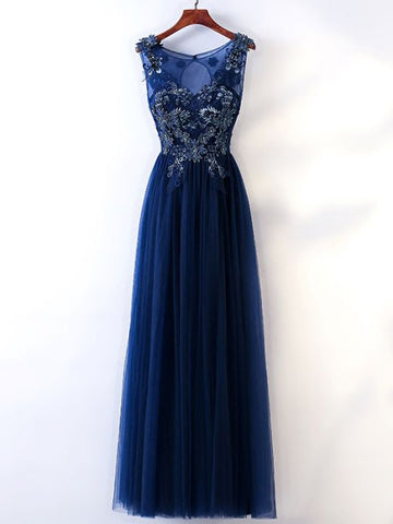 Chic A-line Scoop Tulle Dark Navy Applique Beading Long Prom Dress Evening Dress AM742