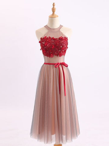 Chic A-line Scoop Tulle Red Knee-Length Applique Short Prom Dress Homecoming Dress AM743