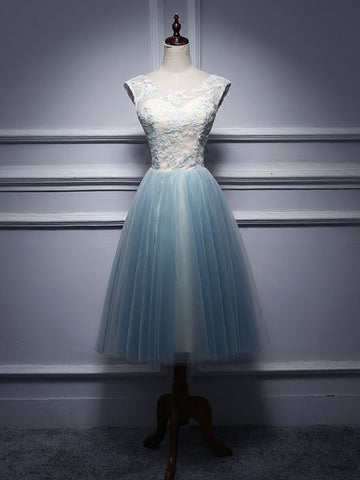 Chic A-line Scoop Tulle Light Blue Knee-Length Short Prom Dress Homecoming Dress AM744