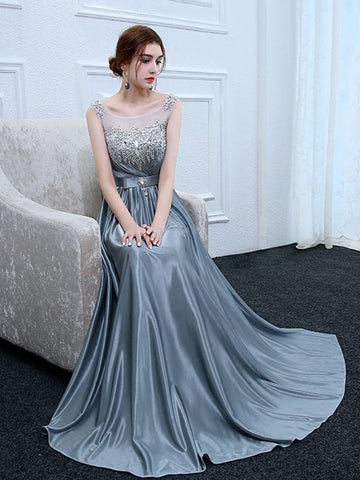 Chic A-line Scoop Elastic Woven Satin Silver Sequins Long Prom Dress Evening Dress AM745