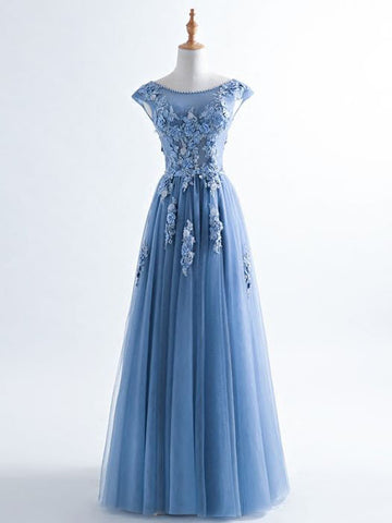 Chic A-line Scoop Tulle Blue Applique Long Prom Dress Evening Dress AM746