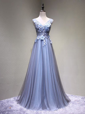 Chic A-line V-neck Tulle Blue Applique Modest Long Prom Dress Evening Dress AM747
