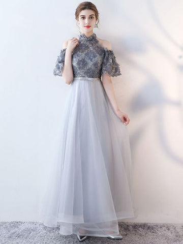 Chic A-line High Neck Tulle Applique Modest Long Prom Dress Evening Dress AM749