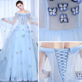 Chic A-line Prom Dress Off-the-shoulder Tulle Light Sky Blue Applique Evening Dress AM750