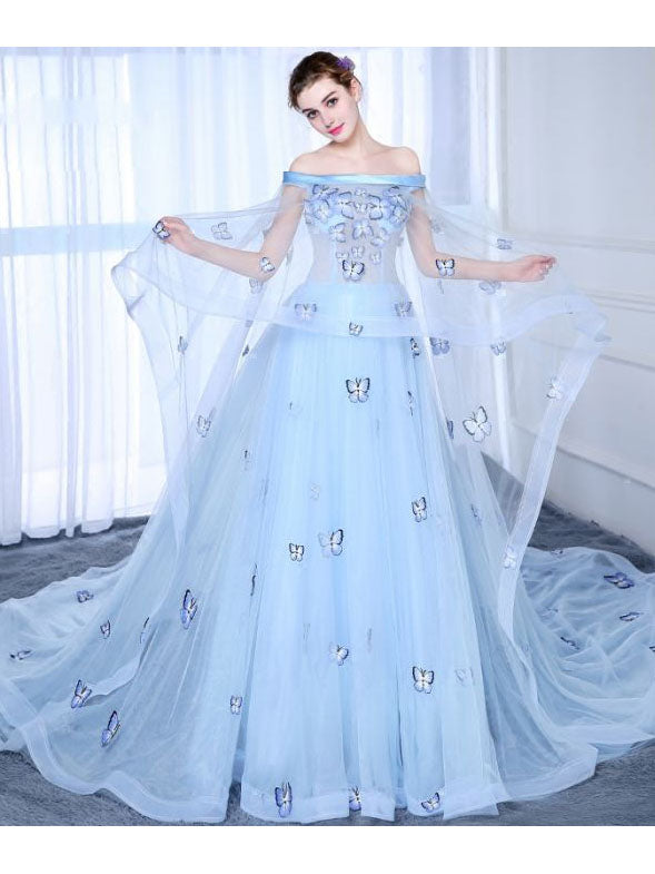 87a9926f288 Chic A-line Prom Dress Off-the-shoulder Tulle Light Sky Blue Applique –  AmyProm