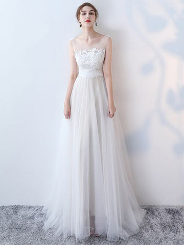 Chic A-line Scoop Tulle Applique White Modest Long Prom Dress Evening Dress AM751