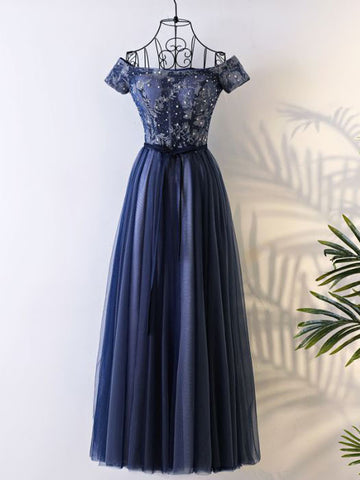 Chic A-line Prom Dress Off-the-shoulder Tulle Dark Navy Applique Evening Dress AM752