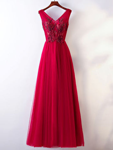 Chic A-line V-neck Tulle Applique Modest Long Prom Dress Evening Dress AM753