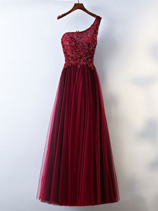 Chic A-line One Shoulder Tulle Modest Burgundy Long Prom Dress Evening Dress AM754