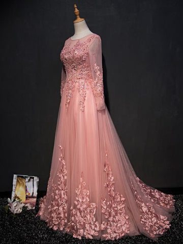 Chic A-line Scoop Pink Modest Applique Long Prom Dress Evening Dress AM755
