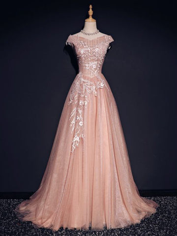 Chic A-line Off-the-shoulder Tulle Applique Modest Long Prom Dress Evening Dress AM756