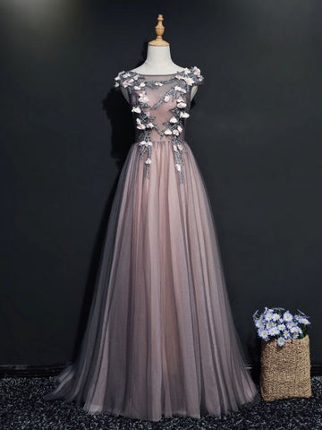 Chic A-line Bateau Gray Modest Applique Long Prom Dress Evening Dress AM757