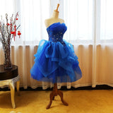 Chic A-line Ball Gowns Strapless Royal Blue Tulle Short Prom Dress Homecoming Dress AM759