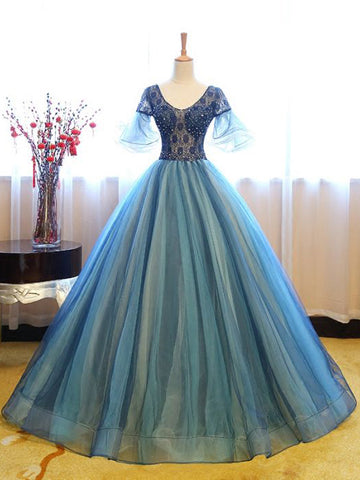 Chic Blue Ball Gown Prom Dress A-line Quinceanera Organza Prom Dress Evening Dress AM760