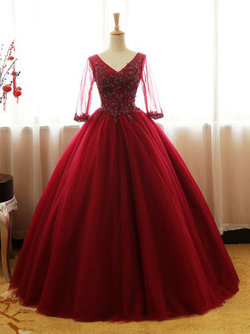 Chic Prom Dresses Ball Gowns Burgundy V Neck Long Prom Dress Quinceanera Dresses AM763