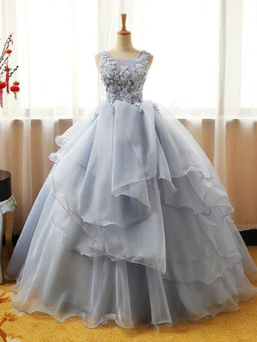 Chic Ball Gowns Scoop Organza Gray Applique Long Prom Dress Evening Dress AM765