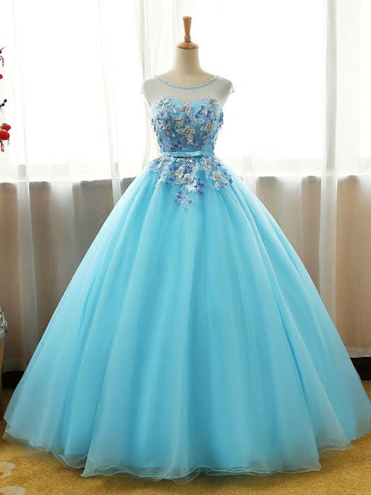 Chic Ball Gowns Scoop Tulle Blue Applique Modest Long Prom Dress Evening Dress AM766