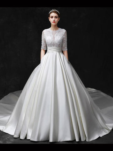 Chic A-line Scoop Sweep/Brush Train White Satin Half Sleeve Lace Wedding Dress AM767