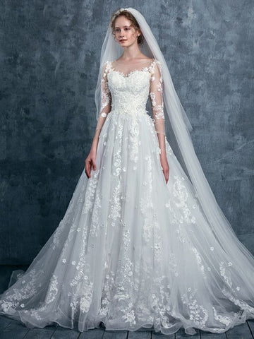 Chic A-line Scoop Tulle White Applique Bridal Gowns Wedding Dress AM768