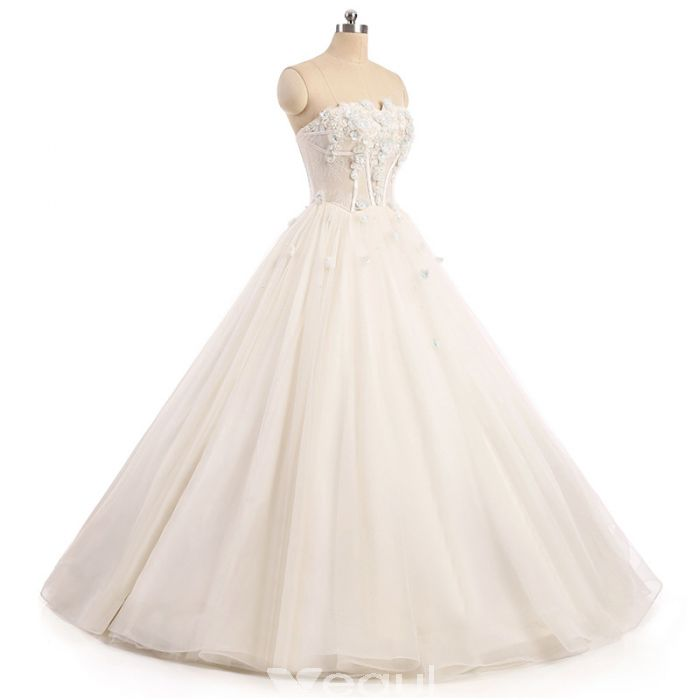 Chic A-line Strapless Tulle White Applique Bridal Gowns