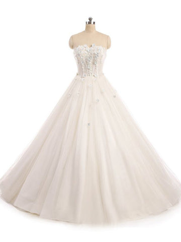 Chic A-line Strapless Tulle White Applique Bridal Gowns Wedding Dress AM769