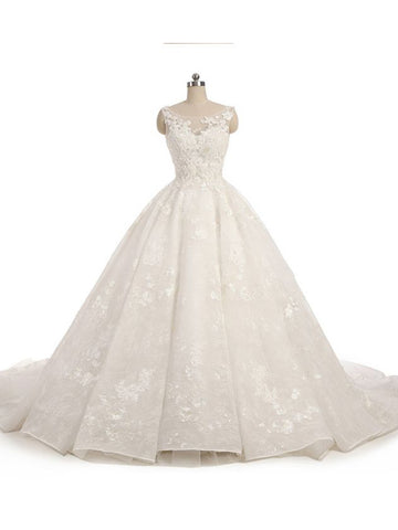 Gorgeous Wedding Dress 2018 Scoop Lace Applique Flowers Tulle Bridal Gown Dresses AM771