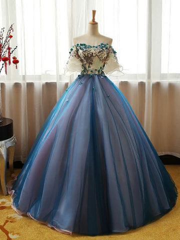Chic A-line Ball Gowns Prom Dress Off-the-shoulder Organza Blue Applique Evening Dress AM772