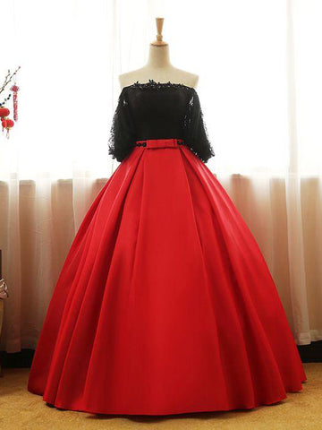 Chic Prom Dresses Ball Gowns Black Red Off the Shoulder Long Prom Dress Quinceanera Dresses AM773