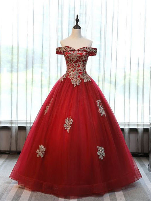 Chic Ball Gowns Off-the-shoulder Burgundy Tulle Applique Modest Long Prom Dress Evening Dress AM775