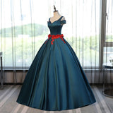 Chic A-line Ball Gowns Prom Dress V-neck Satin Modest Applique Evening Dress AM776