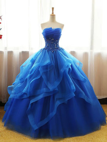 Chic Ball Gowns Royal Blue Strapless Modest Long Prom Dress Evening Dress AM777