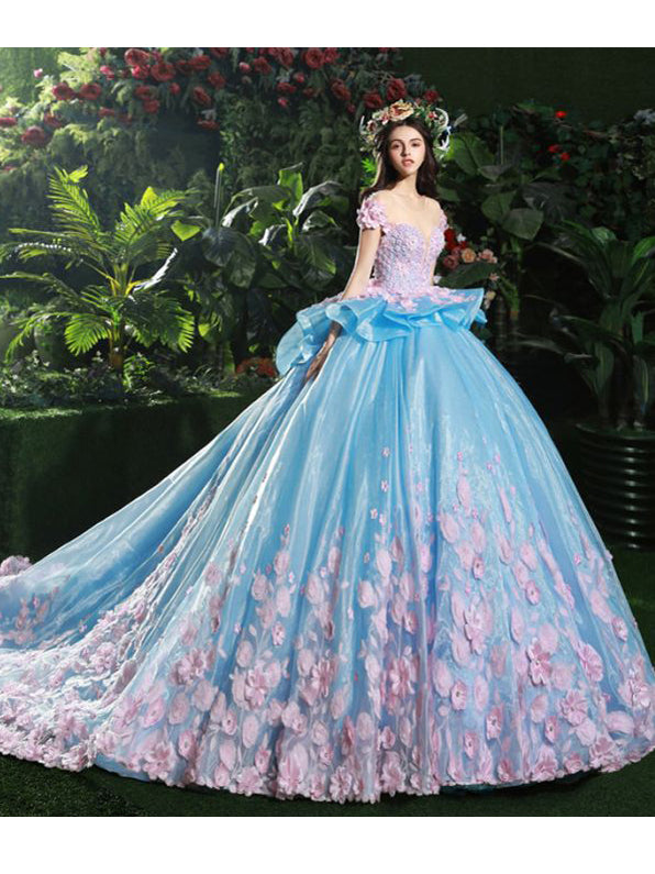 0451ddb0ad0 Chic Quinceanera Dress A-line Ball Gowns Scoop Organza Applique Evenin –  AmyProm