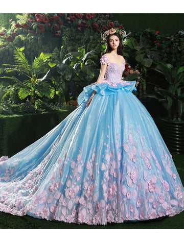 Chic Quinceanera Dress A-line Ball Gowns Scoop Organza Applique Evening Dress AM778