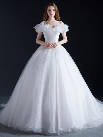 Chic Quinceanera Dress A-line Ball Gowns Off-the-shoulder Organza Applique Evening Dress AM779