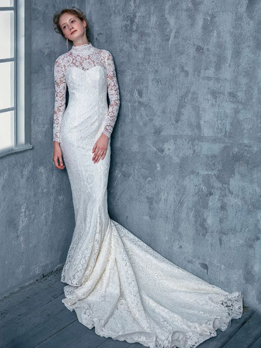 Chic Trumpetmermaid High Neck Tulle White Lace Long Prom Dress Wedding Dress Am780