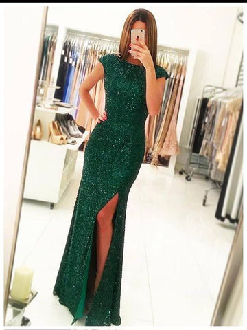 Chic Sheath/Column Scoop Dark Green Tulle Beading Modest Long Prom Dress Evening Dress AM780