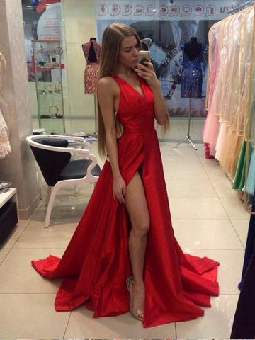 Chic A-line Prom Dress Red V-neck Satin Simple Party Dress Evening Dress AM781