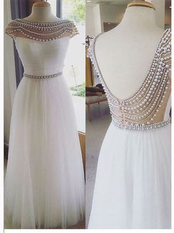 Chic A-line Bateau White Tulle Beading Modest Long Prom Dress Evening Dress AM783