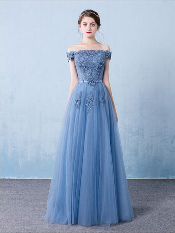 Chic A-line Off-the-shoulder Blue Tulle Beading Modest Long Prom Dress Evening Dress AM783