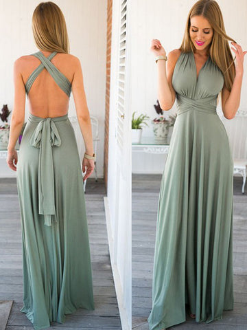 Chic A-line Straps Chiffon Green Simple Long Prom Dress Evening Dress AM784