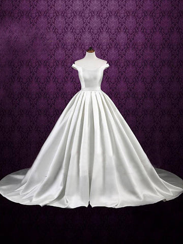 Chic A-line Off-the-shoulder Satin White Simple Cheap Evening Dress Wedding Dress AM785