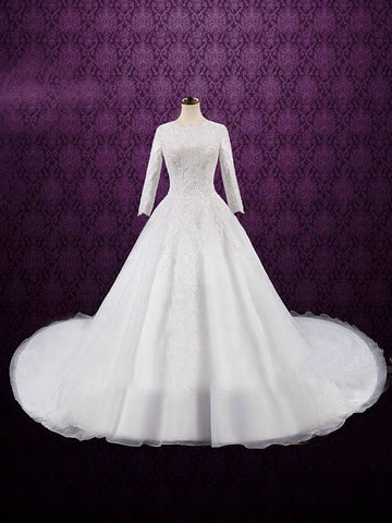 Chic A-line Scoop Organza White Lace Cheap Evening Dress Wedding Dress AM786