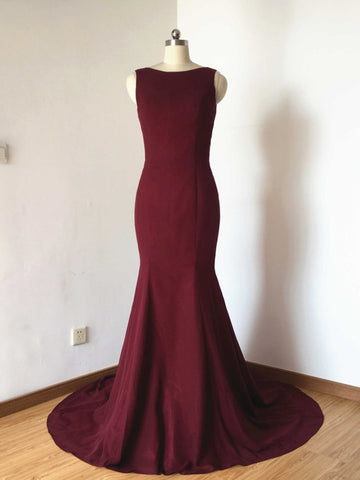 Chic Trumpet/Mermaid Bateau Satin Burgundy Simple Long Prom Dress Evening Dress AM790