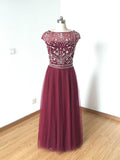Chic A-line Bateau Tulle Burgundy Beading Long Prom Dress Evening Dress AM791