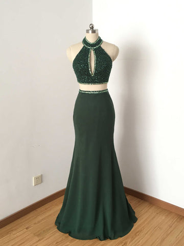 Chic Two Pieces Sheath/Column Halter Chiffon Green Beading Prom Dress Evening Dress AM792