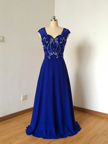 Chic Prom Dresses Long A line Straps Chiffon Royal Blue Cheap Prom Dress Party Dresses AM793