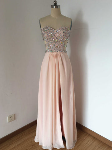 Chic Prom Dresses Long A line Sweetheart Chiffon Pink Cheap Prom Dress Party Dresses AM794