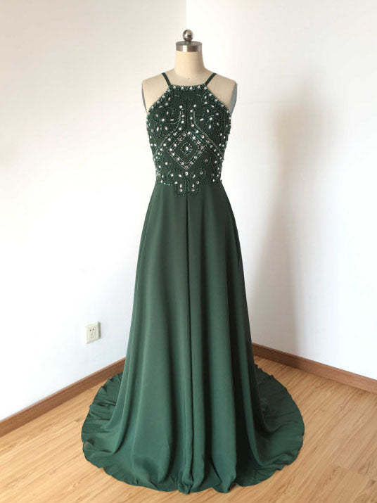 Chic Dark Green Prom Dress A-line Spaghetti Straps Chiffon Prom Dress Evening Dress AM795