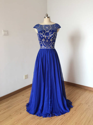 Chic A-line Bateau Chiffon Royal Blue Beading Long Prom Dress Evening Dress AM796