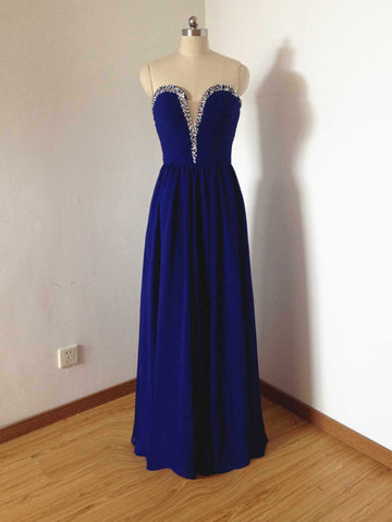 Chic Prom Dresses Long A line Chiffon Royal Blue Cheap Beaded Prom Dress Party Dresses AM797